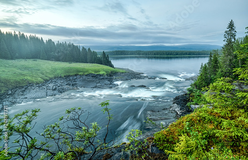 Tannforsen cascades at midnight - overview - 248197371