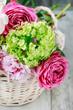 Leinwandbild Motiv Floral arrangement with pink roses, peonies and matthiola flowers.