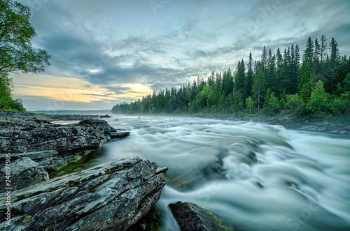 Tannforsen top cascades at summer midnight