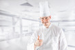 Chef professional in restaurant kitchen showing gestue thumbs up - 248202918