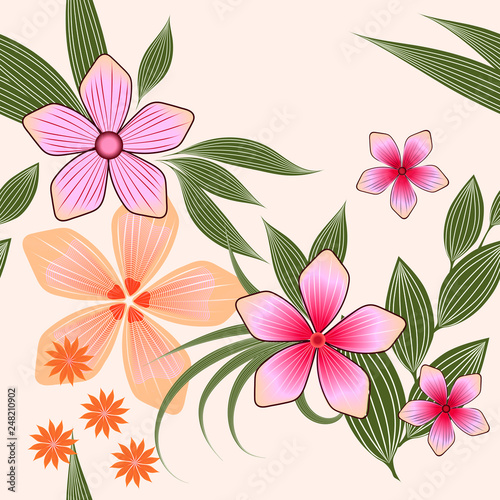 Vector seamless spring floral pattern in pastel colors.