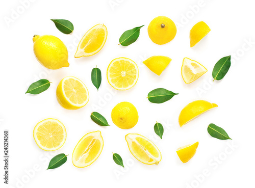 Lemon Summer Pattern. Fresh Lemon fruits and slices with leaf isolated on white background. Flat lay, top view. - 248214360