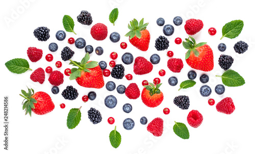 Fresh berries isolated on white background, top view. Strawberry, Raspberry, Cranberry, Blackberry, Blueberry and Mint leaf, flat lay - 248214586