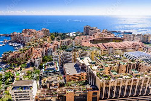 Cityscape and harbor of Monte Carlo. Aerial view of Monaco on a Sunny day, Monte Carlo, Principality of Monaco - 248218160