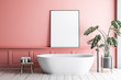 Pink bathroom with poster