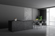 Leinwanddruck Bild - Gray and stone kitchen corner with bar