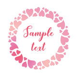 Round tender frame of pink gradient hearts. Vector valentines day background.