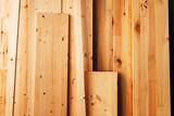Pine wood floorboard planks in workshop - 248230117