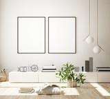 mock up poster frame in modern interior background, living room, Scandinavian style, 3D render, 3D illustration - 248231119