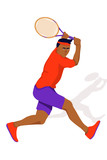 Illustration with man tennis player on white background. Healthy lifestyle concept.