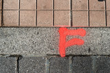 Letter F in red painted on the sidewalk - 248236916