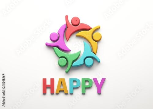 Leinwanddruck Bild Happy People Group. 3D Render Illustration