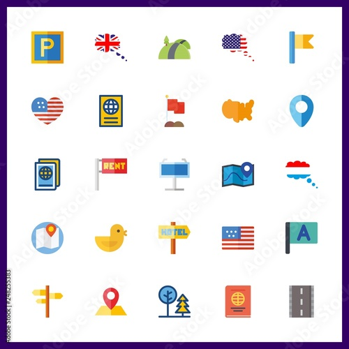 25 country icon. Vector illustration country set. flag and maps and flags icons for country works © Orxan