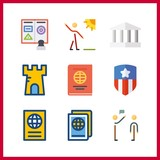 9 national icon. Vector illustration national set. monumental and passport icons for national works
