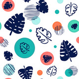 Seamless Pattern of Blue Monstera Leaves and Circles - 248261182