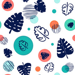 Seamless Pattern of Blue Monstera Leaves and Circles