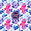 pink purple watercolor flower seamless pattern - 248274135