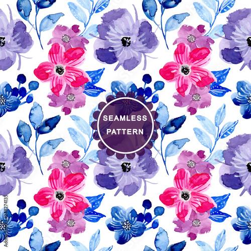 pink purple watercolor flower seamless pattern - 248274135