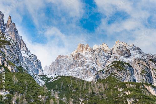 Dolomites. Winter between ice and snow. Tre Scarperi Refuge. On the way to the Tre Cime di Lavaredo