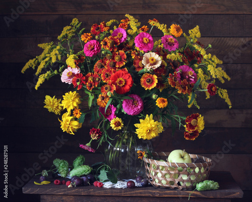 garden still life with flowers, fruits and berries. © MaskaRad
