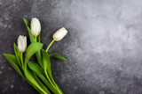 Beautiful white tulips flowers for holiday. - 248287742