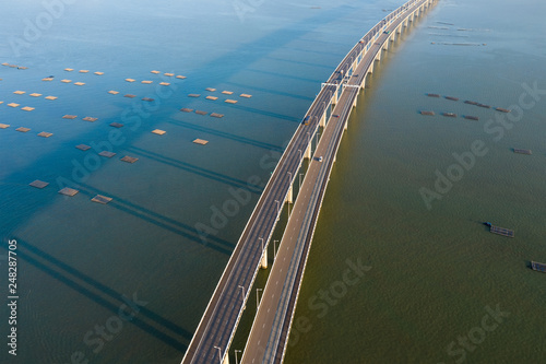 fototapeta na ścianę Drone fly over Shenzhen Bay Bridge