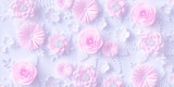 Pink Paper flowers background, floral papercraft wallpaper, wedding or Valentines day greeting card. 3d rendering