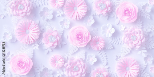 Pink Paper flowers background, floral papercraft wallpaper, wedding or Valentines day greeting card. 3d rendering - 248289733