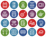 Round dotted icons set of some kitchen utensils and home appliances - 248303300