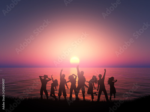 Leinwanddruck Bild 3D silhouette of people dancing against a sunset ocean landscape