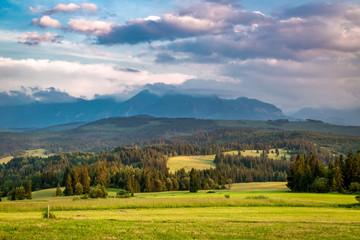Belianske Tatra mountains in summer at sunset, Poland