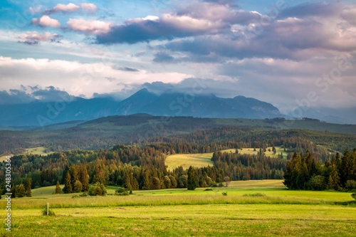 Belianske Tatra mountains in summer at sunset, Poland