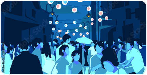 Illustration of crowded Asian street at Chinese New Year in color
