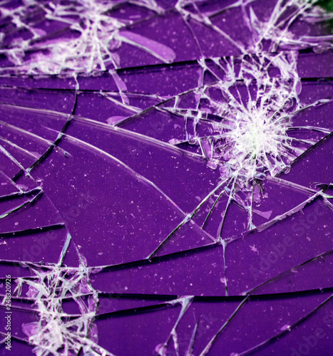 Shattered Glass Vandalised Screen  - 248320926