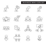 A simple set of business man management and teamwork thin line vector icon, cute flat design