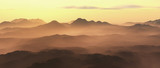 Mountains in mist at sunrise. - 248333192