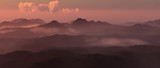 Mountain landscape in mist at sunset. - 248333196