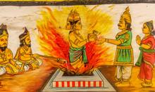 "Постер, картина, фотообои ""Kumbakonam india January 21 2019 Close up view of wall painting at Ramaswamy hindu Temple"""
