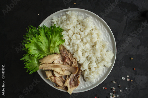rice and chicken meat. diet food. food background. copy space - 248353562