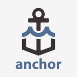 Vector anchor with wave