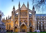 London, United Kingdom - Northern entrance to the royal Westminster Abbey, formally Collegiate Church of St. Peter at Westminster at the Dean's Yard in Central London