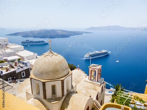 Orthodox Church building on Santorini island in the middle of the day, Greece