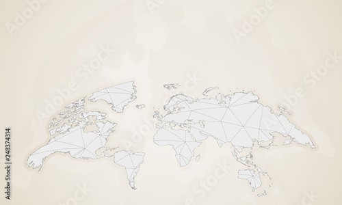 World map in vintage style. Rounded vector world map