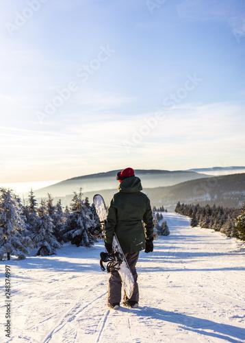 fototapeta na ścianę Back view of female snowboarder enjoying mountain landscape