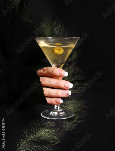 Martini with an olive - 248381114