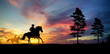 A silhouette of two cowboy and horse at sunset - 248382112