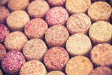 Wine corks background horizontal.Top view with copy space - 248382375