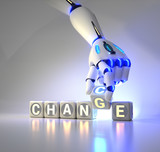 cyborg robot hand changes text cube - ai concept
