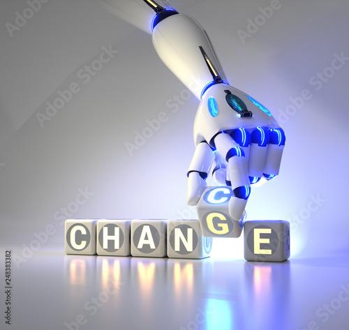 Leinwanddruck Bild cyborg robot hand changes text cube - ai concept