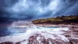 Stormy weather on the adriatic sea with big waves in Mali Losinj croatia.tif